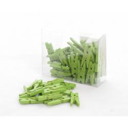 Mini déco clips bois vert x50pc