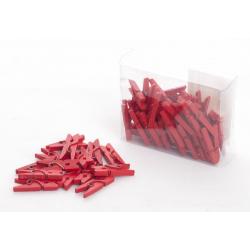 Mini déco clips bois rouge x50pc