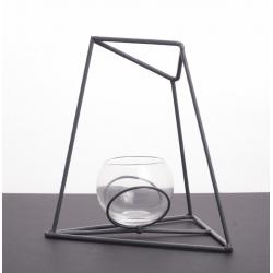 Vases boule support métal Trapèze h17,5 cm