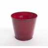 Pot zinc d16 h14 cm Tartan rouge