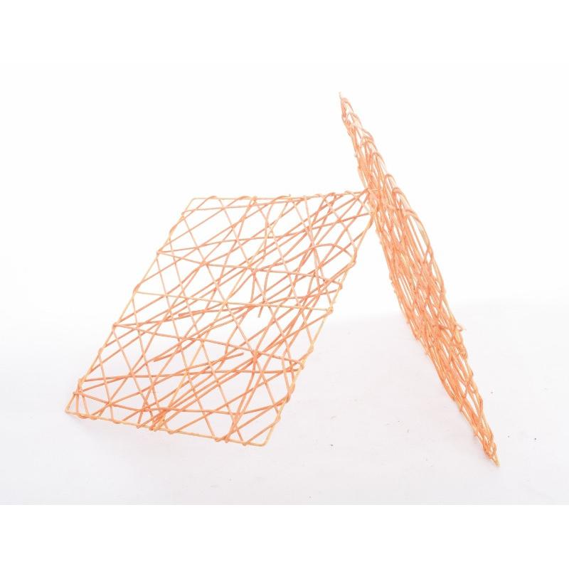 CADRE ROTIN - Carré en Rotin L20 x P20 cm Orange par 7