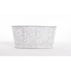Jardinière Zinc Ovale Motif Blanc 21x10.5xh.10