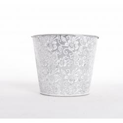 Cache-Pot Zinc Motif Blanc d.16 h.14