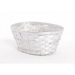 BAMBOO - Vannerie Ovale Argent 24x17cmHt 11cm