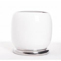 Pot Rond Blanc/ Argent D13Ht15cm