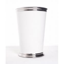 Vase Blanc Bord Argent D14Ht20cm
