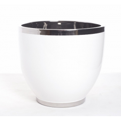 Vase Blanc Bord Argent D18Ht17cm