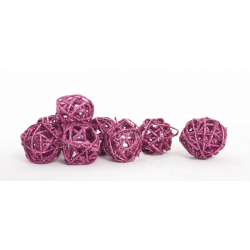 BOULE ROTIN - Sphère Rotin D4 cm Cyclamen Pailleté par 24