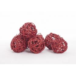 BOULE ROTIN - Sphère Rotin D4 cm Rouge Pailleté par 24