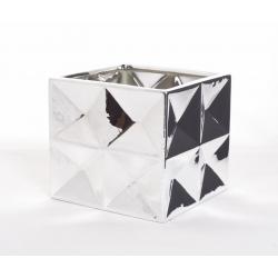 MIRROR - Cache-pot carré 14x14 h13,5 cm Argent