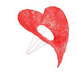 Support Bouquet sisal Coeur 20x25 cm Rouge par 6