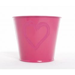 Seau Coeur Rose D.11.5 cm par 12