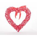 Coeur en Osier Rouge avec Noeud Satin 30 cm