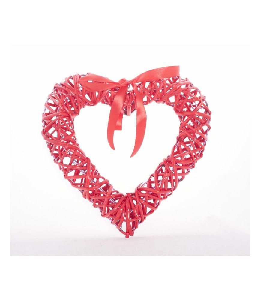 Coeur en osier rouge avec noeud satin 30 cm - Coeur en osier ...