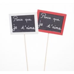 PARCE QUE JE T'AIME - Pics Rectangle Blanc et Rouge L7.5 x H35 cm par 12