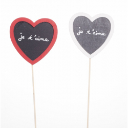 Pique Coeur Je t'Aime Blanc et Rouge L7.5 x h 36cm par 12