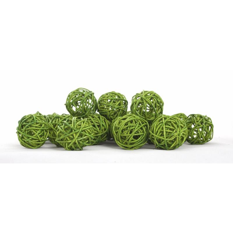 BOULE ROTIN - Sphère Rotin D4 cm Vert par 24