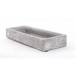 NOLAN - Jardinière céramique gris moucheté 24x9xh.2.5cm