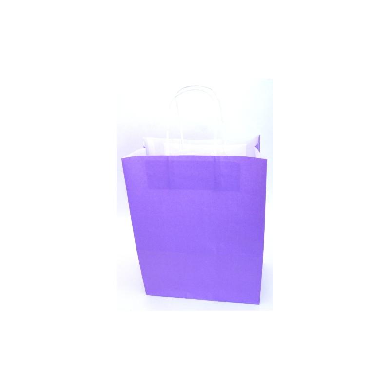 Sac Kraft Violet 90g torsadées 23x12x30 - 50 sacs