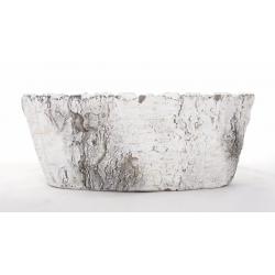 Jardinière Barque Ciment 28X13X11cm Blanc