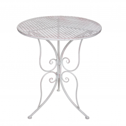 Table Fer Blanc H60D50cm