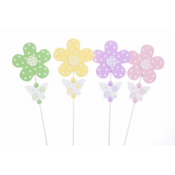 Pique Fleur/Papillon Bois 28cm Par12