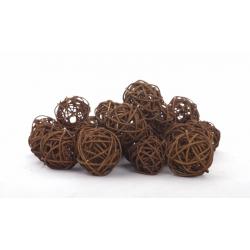BOULE ROTIN - Sphère Rotin D4 cm Marron par 24