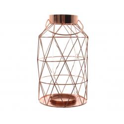 Lanterne en verre Cuivrée d17 h 31 cm