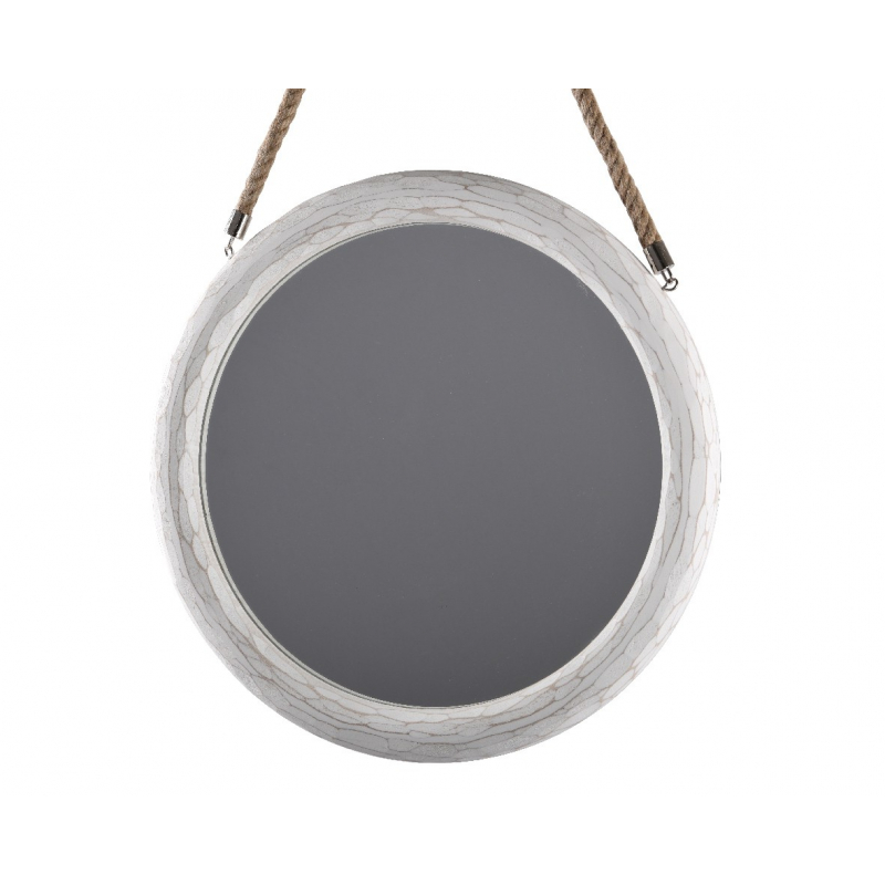 Miroir Rond Blanc avec anse corde d 45