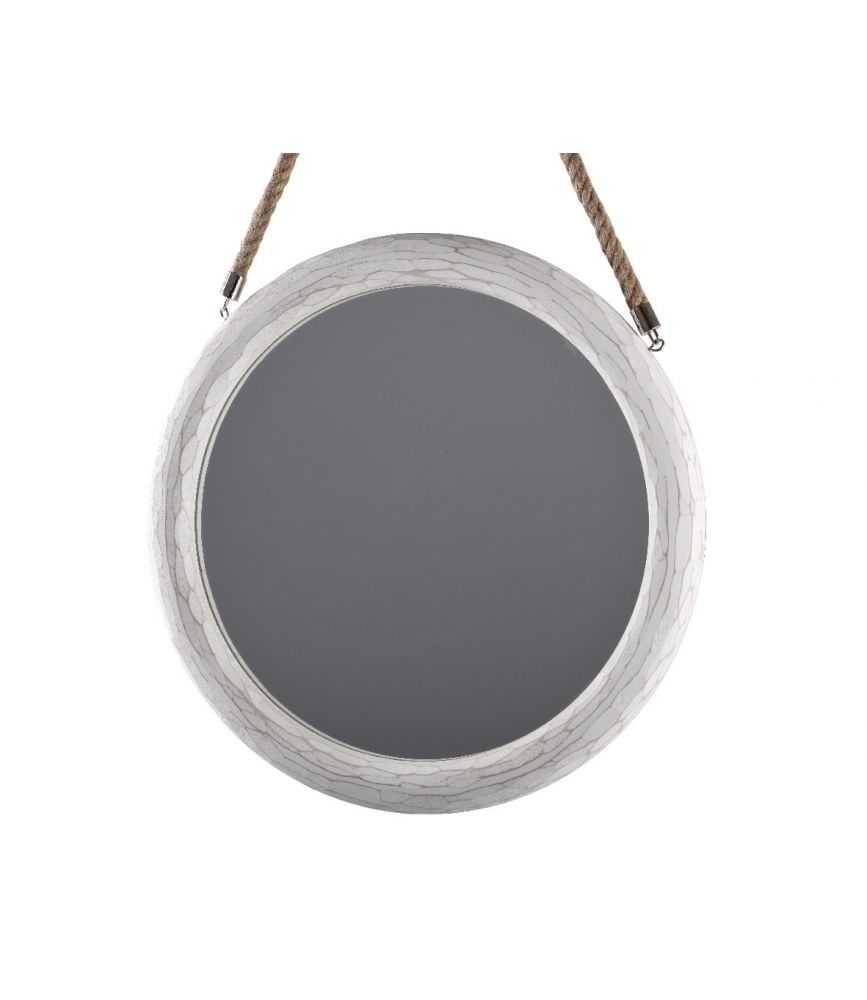 miroir rond blanc avec anse corde d 45. Black Bedroom Furniture Sets. Home Design Ideas