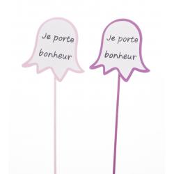 """Pique Clochette Coul Asst""""Je porte bonheur"""" par 24"""