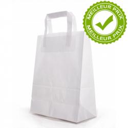 SAC KRAFT - Blanc poignées plates 22x10x28 cm - 50 sacs