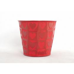 """CELANIE - Cache-Pot Rouge """"Coeur Rouge"""" Zinc D11,5 X H 10 CM"""