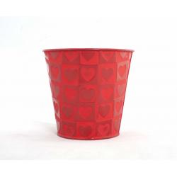"""CELANIE - Cache-Pot Rouge """"Coeur Rouge"""" Zinc D13 X H 12,5 CM"""