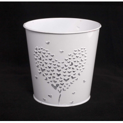 """ADELISE – Cache-Pot Blanc """"Coeur Argent"""" Zinc D11 X H11 CM"""