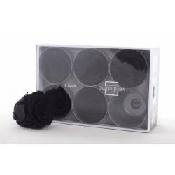 ROSA - Tête Rose Stabilisée d6.5cm Noire par 6