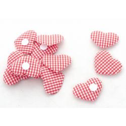 Coeur à Carreaux Rouge/Blanc autocollant x12 pièces