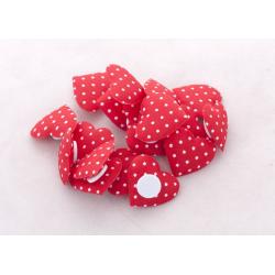 Coeur à Pois Rouge/Blanc autocollant d 25 mm x18 pièces