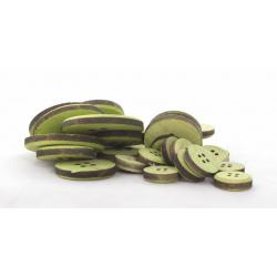 Boutons en Bois Vert 3/5/7 cm par 30