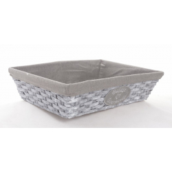 AHKEA - Corbeille Rectangle Tissu Gris L38 x P28 x H10 cm