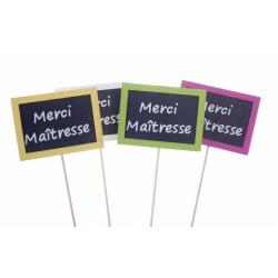 """""""Merci Maîtresse"""" - Pique Ardoise L7,5 x P5,5 x H30 cm Par 12"""