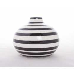 Vase Porcelaine Rayé Blanc/Noir D14.5 x H12 cm