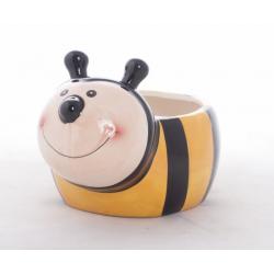 Pot Abeille - Cache-Pots Céramique D12 x H8 cm Jaune / Noir