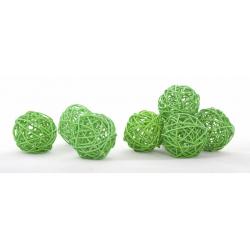 BOULE ROTIN - Sphère Rotin D6 cm Vert par 12