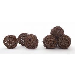 BOULE ROTIN - Sphère Rotin D6 cm Marron par 12