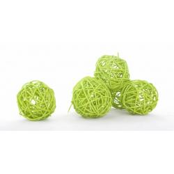 BOULE ROTIN - Sphère Rotin D7 cm Vert Clair par 6