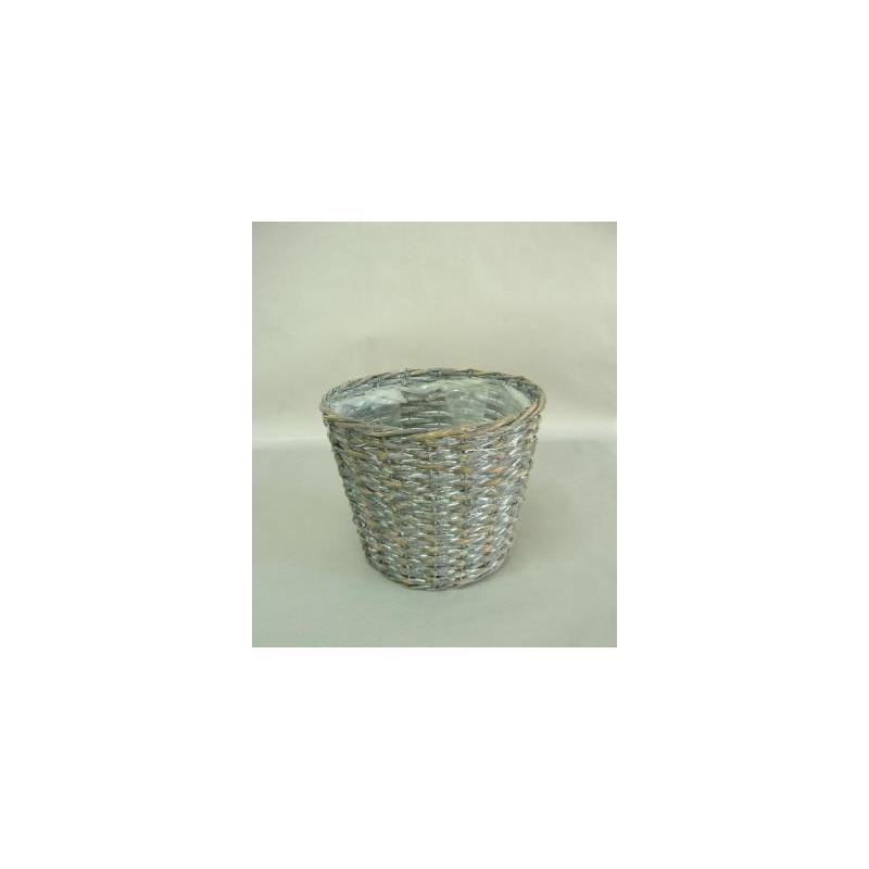 Cache-pot osier gris D22 H19