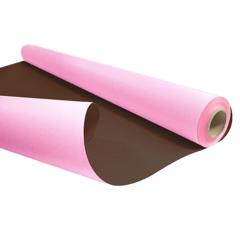 DUO - Rouleau Kraft Chocolat / Rose 0.80 x 40 m - 60gr / m²
