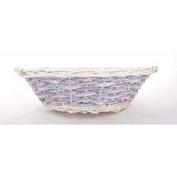 OWEN - Vannerie Osier Ronde Bleu/Rose d 45 cm
