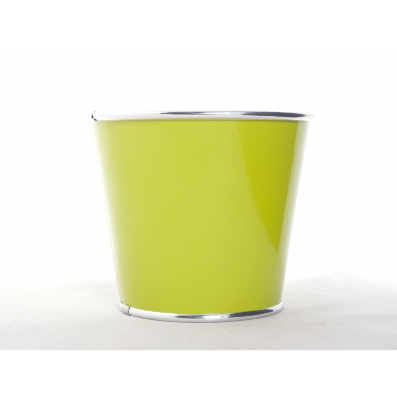 ORORA - Cache Pot Zinc Orchid Rebord Alu Vertd.15xh.13cm
